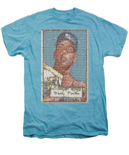 1952 Topps Mickey Mantle Rookie Card Mosaic Men's Premium T-Shirt by Paul Van Scott