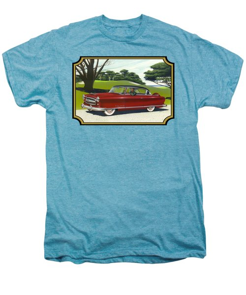 1953 Nash Rambler Car Americana Rustic Rural Country Auto Antique Painting Red Golf Men's Premium T-Shirt
