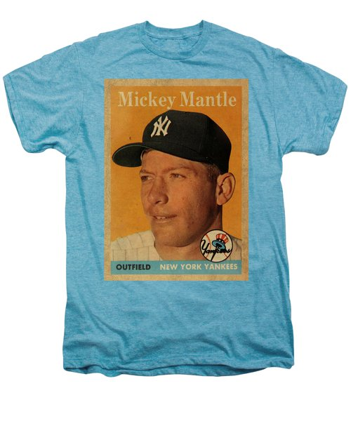 1958 Topps Baseball Mickey Mantle Card Vintage Poster Men's Premium T-Shirt by Design Turnpike