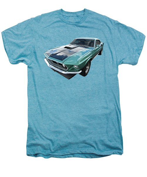 1969 Green 428 Mach 1 Cobra Jet Ford Mustang Men's Premium T-Shirt by Gill Billington