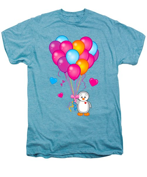 Baby Penguin With Heart Balloons Men's Premium T-Shirt