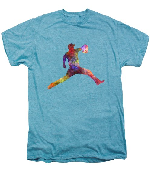 Baseball Player Throwing A Ball Men's Premium T-Shirt by Pablo Romero