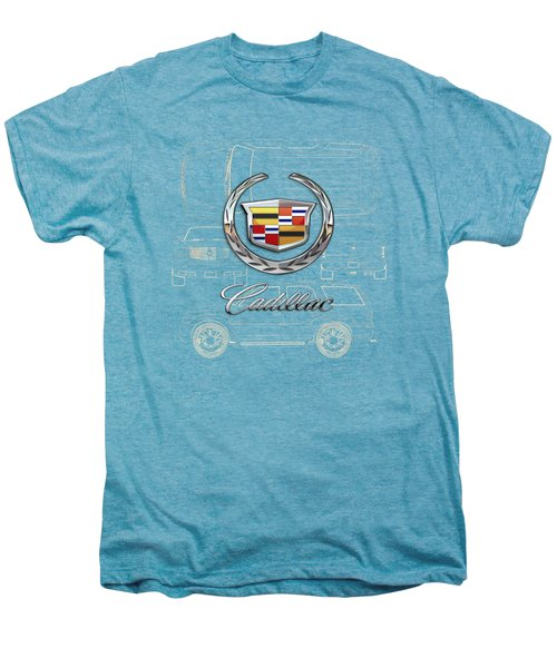 Cadillac 3 D Badge Over Cadillac Escalade Blueprint  Men's Premium T-Shirt