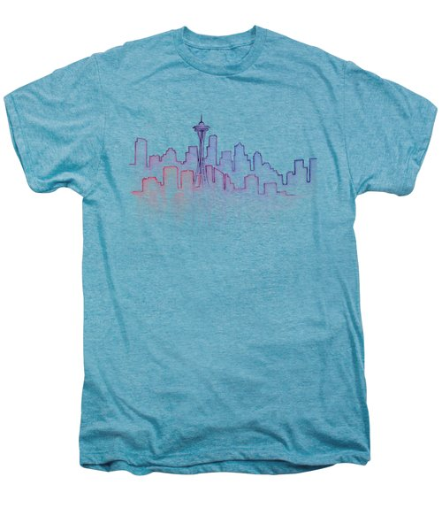 Seattle Skyline Watercolor Men's Premium T-Shirt