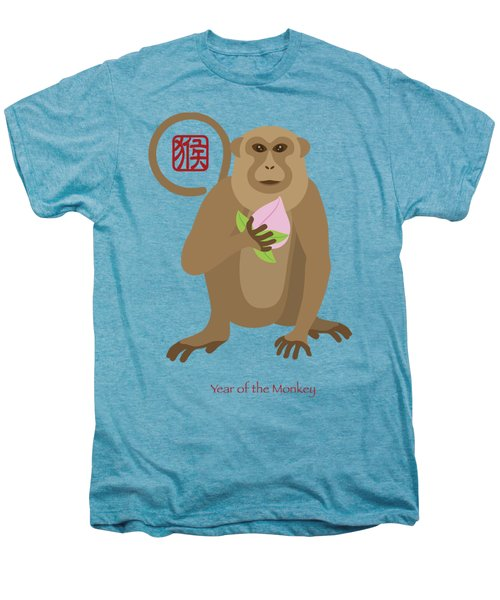 2016 Chinese Year Of The Monkey With Peach Men's Premium T-Shirt by Jit Lim