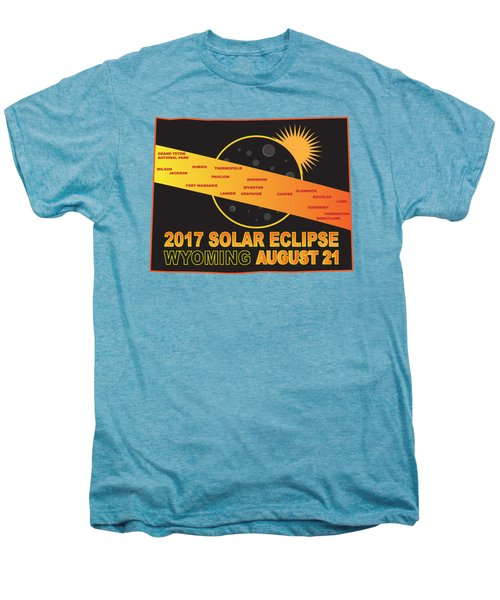 2017 Solar Eclipse Across Wyoming Cities Map Illustration Men's Premium T-Shirt