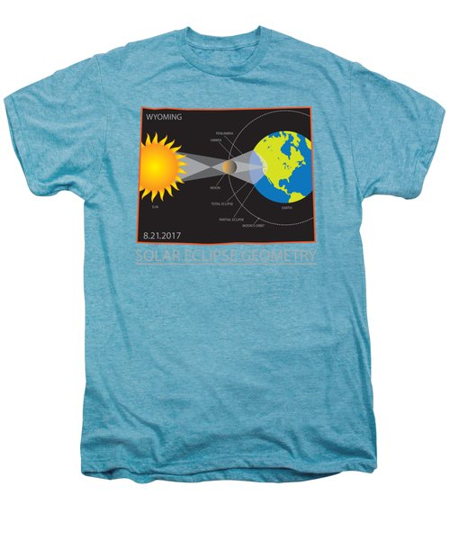 2017 Solar Eclipse Geometry Wyoming State Map Illustration Men's Premium T-Shirt