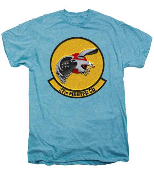 27th Fighter Squadron - 27 Fs Patch Over White Leather Men's Premium T-Shirt