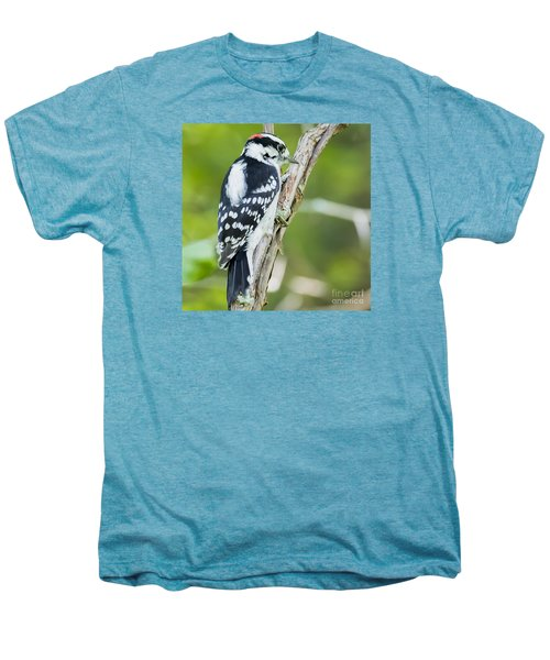 Men's Premium T-Shirt featuring the photograph Downy Woodpecker  by Ricky L Jones