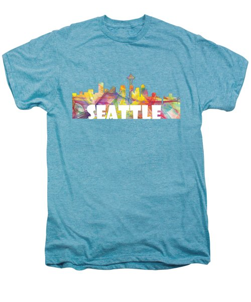 Seattle Washington Skyline Men's Premium T-Shirt by Marlene Watson