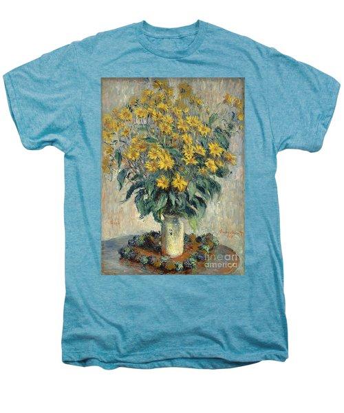 Jerusalem Artichoke Flowers Men's Premium T-Shirt by Claude Monet