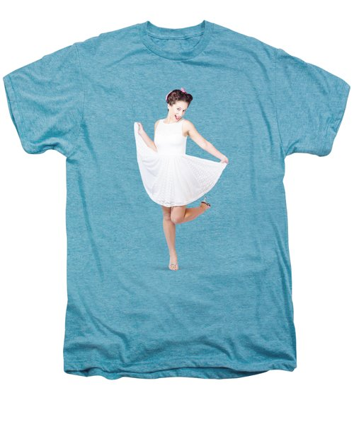 50s Pinup Woman In White Dress Dancing Men's Premium T-Shirt