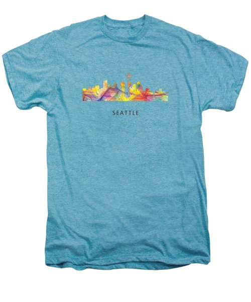 Seattle Washington Skyline Men's Premium T-Shirt by Marlene Watson