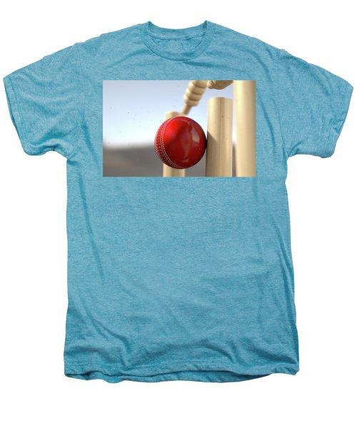 Cricket Ball Hitting Wickets Men's Premium T-Shirt by Allan Swart