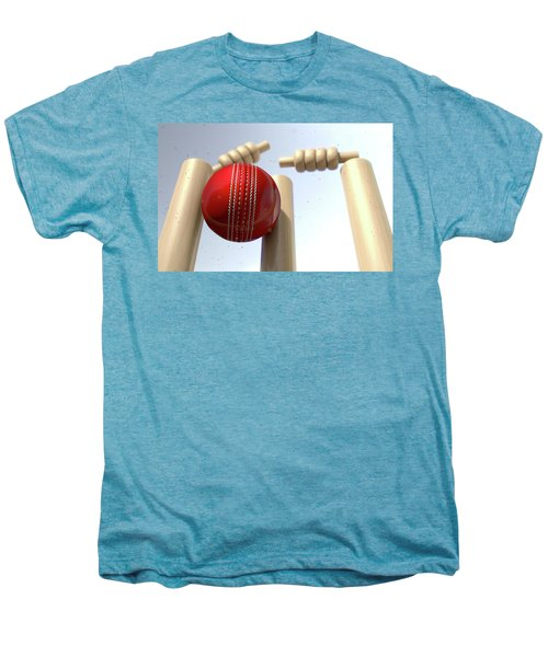 Cricket Ball Hitting Wickets Men's Premium T-Shirt by Allan Swart