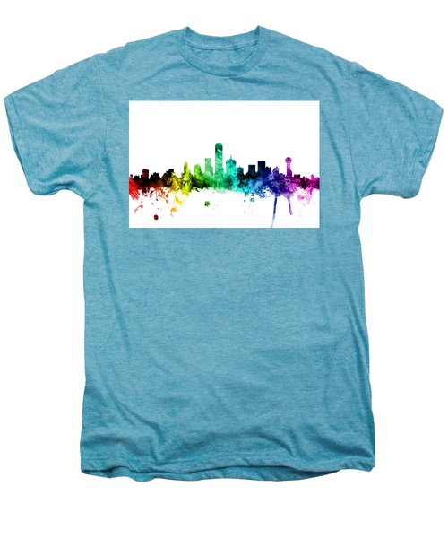 Dallas Texas Skyline Men's Premium T-Shirt by Michael Tompsett