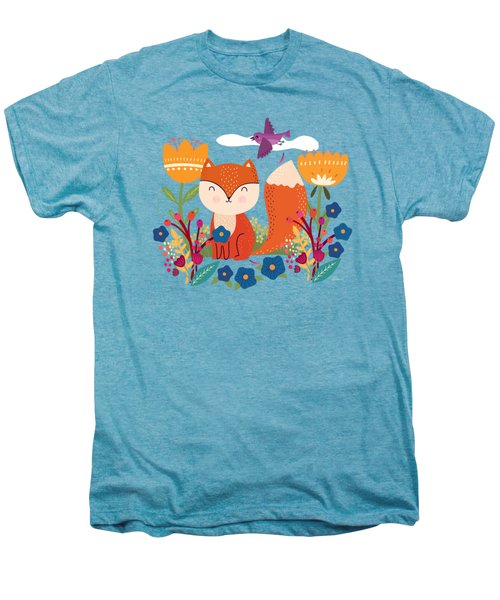 A Fox In The Flowers With A Flying Feathered Friend Men's Premium T-Shirt