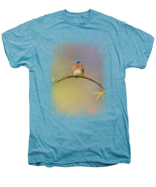 A Little Blue In The Garden Men's Premium T-Shirt by Jai Johnson