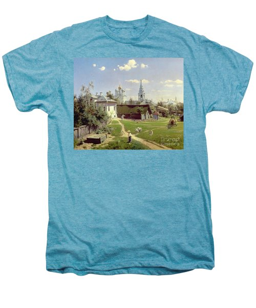 A Small Yard In Moscow Men's Premium T-Shirt by Vasilij Dmitrievich Polenov