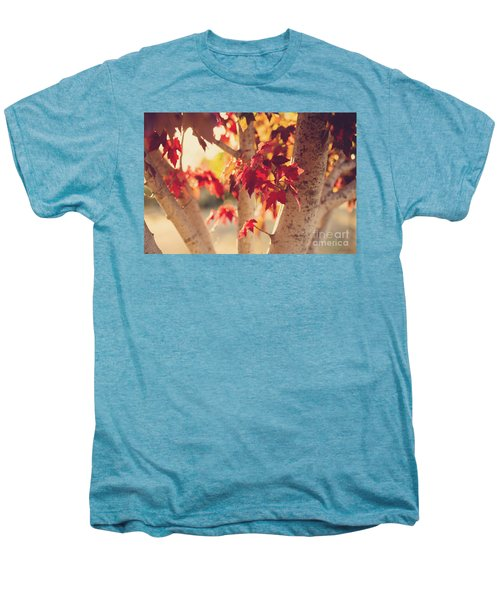 Men's Premium T-Shirt featuring the photograph A Warm Red Autumn by Linda Lees