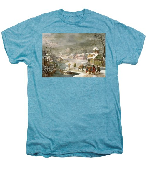 A Winter Landscape With Travellers On A Path Men's Premium T-Shirt by Denys van Alsloot