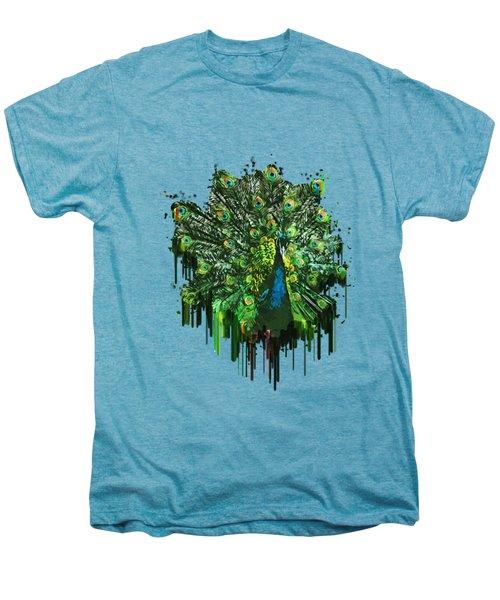 Abstract Peacock Acrylic Digital Painting Men's Premium T-Shirt by Georgeta Blanaru