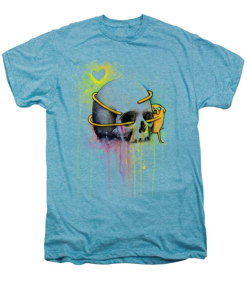 Adventure Time Jake Hugging Skull Watercolor Art Men's Premium T-Shirt