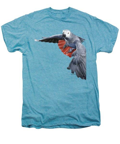 African Grey Parrot Flying Men's Premium T-Shirt