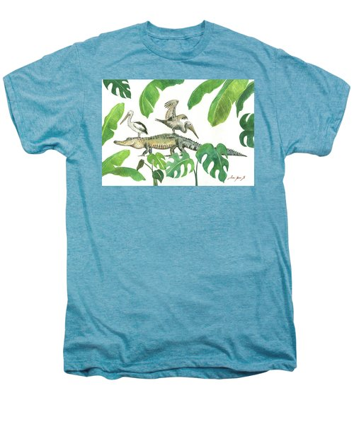 Alligator And Pelicans Men's Premium T-Shirt by Juan Bosco