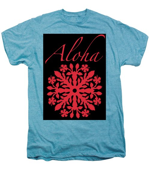 Aloha Red Hibiscus Quilt T-shirt Men's Premium T-Shirt by James Temple