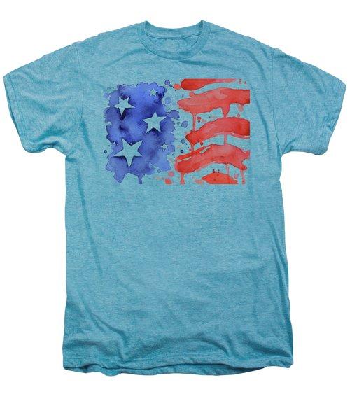 American Flag Watercolor Painting Men's Premium T-Shirt