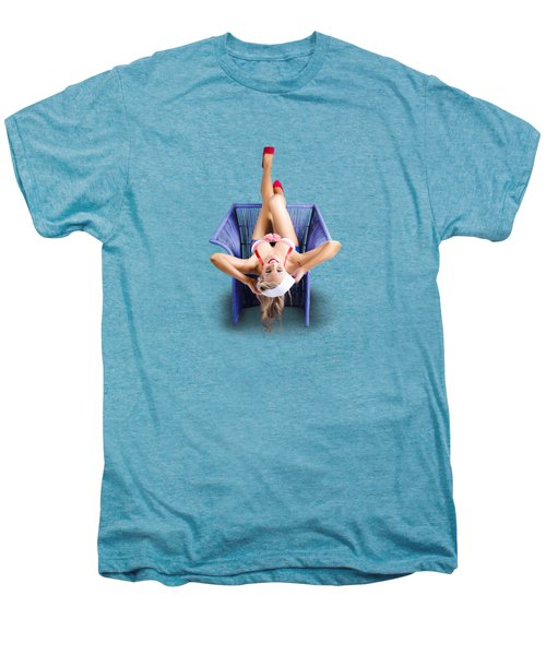 American Pinup Woman Upside Down On Cane Chair Men's Premium T-Shirt by Jorgo Photography - Wall Art Gallery