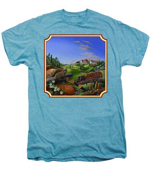 Americana Decor - Springtime On The Farm Country Life Landscape - Square Format Men's Premium T-Shirt by Walt Curlee
