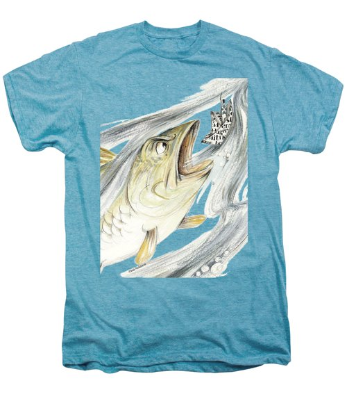 Angry Fish Ready To Swallow Tin Soldier's Paper Boat - Horizontal - Fairy Tale Illustration Fragment Men's Premium T-Shirt by Elena Abdulaeva