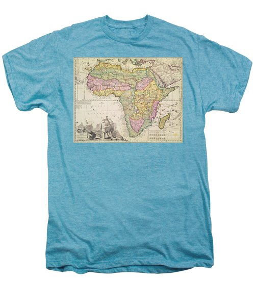 Antique Map Of Africa Men's Premium T-Shirt by Pieter Schenk