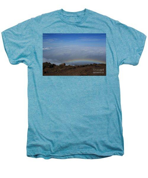 Anuenue - Rainbow At The Ahinahina Ahu Haleakala Sunrise Maui Hawaii Men's Premium T-Shirt by Sharon Mau