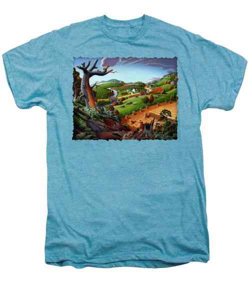 Appalachian Fall Thanksgiving Wheat Field Harvest Farm Landscape Painting - Rural Americana - Autumn Men's Premium T-Shirt