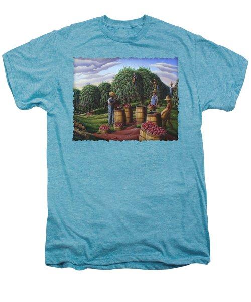 Apple Harvest - Autumn Farmers Orchard Farm Landscape - Folk Art Americana Men's Premium T-Shirt by Walt Curlee
