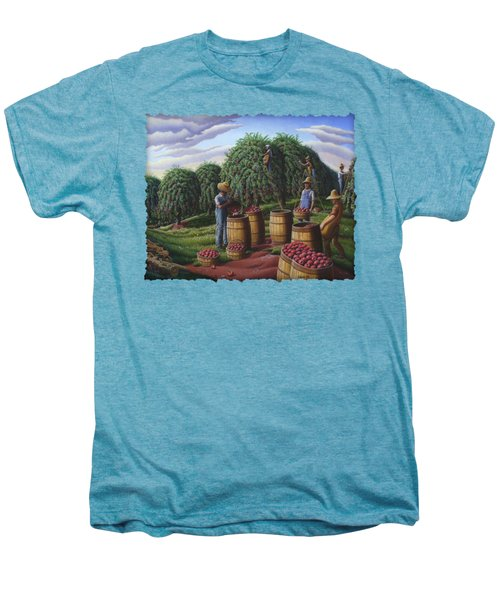 Apple Harvest - Autumn Farmers Orchard Farm Landscape - Folk Art Americana Men's Premium T-Shirt