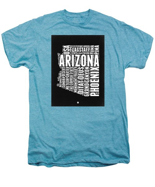 Arizona Black And White Word Cloud Map Men's Premium T-Shirt by Naxart Studio
