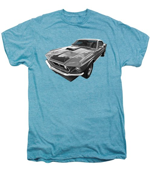 428 Cobra Jet Mach1 Ford Mustang 1969 In Black And White Men's Premium T-Shirt by Gill Billington