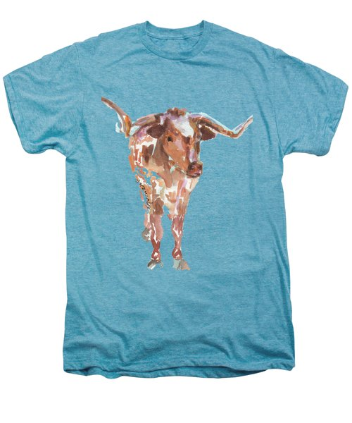 The Original Longhorn Standing Earth Quack Watercolor Painting By Kmcelwaine Men's Premium T-Shirt