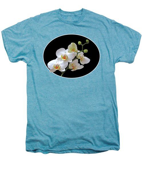 Orchids On Black And Gold Men's Premium T-Shirt by Gill Billington