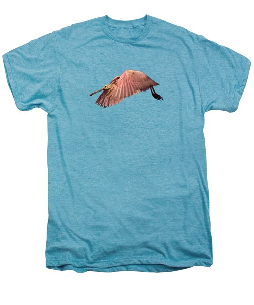 Roseate Spoonbill In Flight Men's Premium T-Shirt by John Harmon