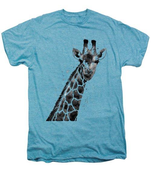 Giraffe In Black And White Men's Premium T-Shirt by Hailey E Herrera
