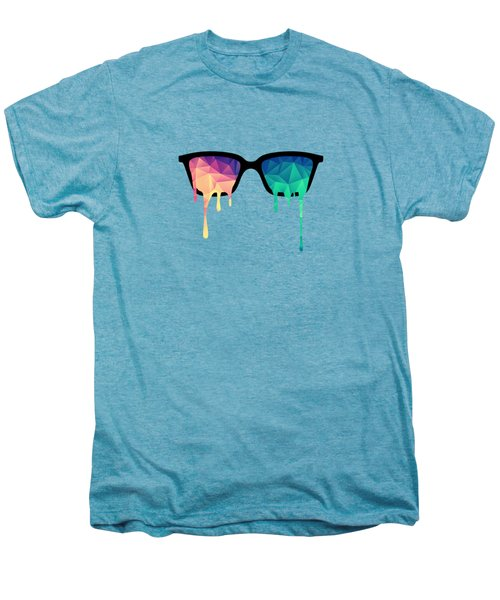 Psychedelic Nerd Glasses With Melting Lsd Trippy Color Triangles Men's Premium T-Shirt by Philipp Rietz