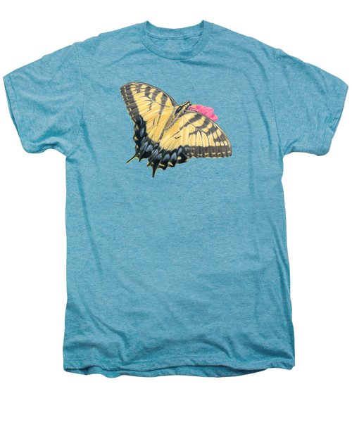 Swallowtail Butterfly And Zinnia- Transparent Backgroud Men's Premium T-Shirt