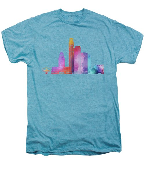 Los Angeles Landmarks Watercolor Poster Men's Premium T-Shirt by Pablo Romero