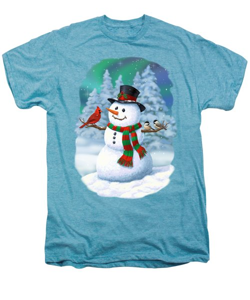 Sharing The Wonder - Christmas Snowman And Birds Men's Premium T-Shirt by Crista Forest