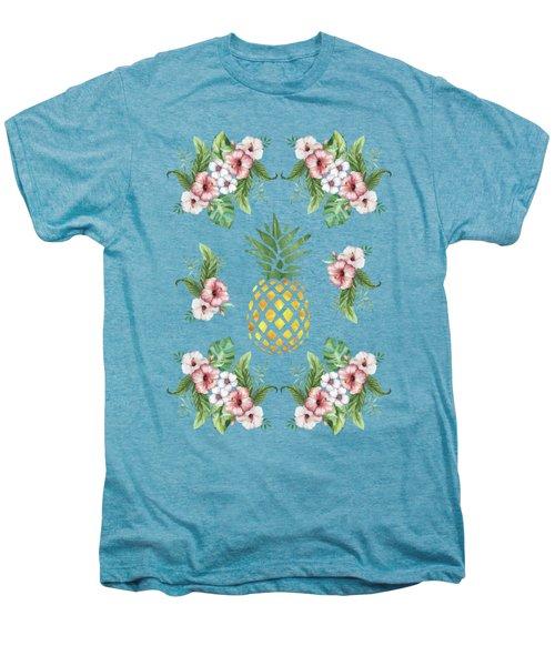 Exotic Hawaiian Flowers And Pineapple Men's Premium T-Shirt by Georgeta Blanaru